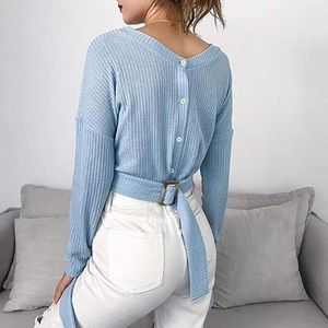 Blue Button Up Back Top Autumn Fall
